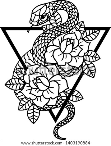 Tattoo with rose and snake with sacred geometry frame. Roses Isolated vector illustration. Traditional Tattoo Old School Tattooing Style Ink. Snake silhouette illustration. Black serpent.