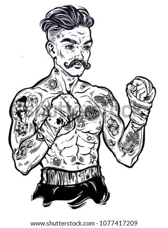 Tattooed boxer fighter, player in vintage style with fighting with wrapped knuckles. Traditional tattoo style retro poster. Boxing club, training men fight brutal theme. Isolated vector illustration.