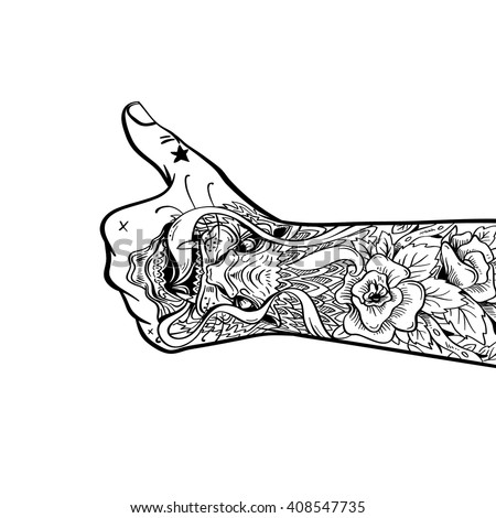 Tattooed hand shows like sign, hand drawn vector illustration