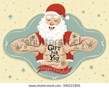 tattooed santa claus banner
