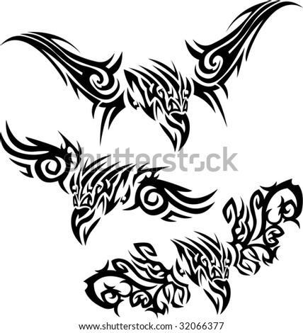 Tattoos birds of prey - stock vector