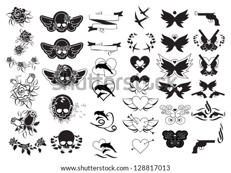 Tattoos Set Isolated On White Background Vector Illustration Graphic Design Useful For Your Design Logo Tattoo