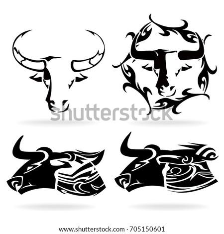 Taurus Buffalo Set On White Background Illustration Tribal