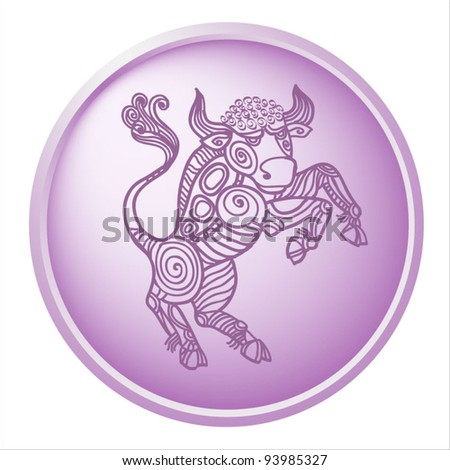 taurus, button with sign of the zodiac