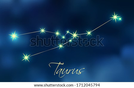 Taurus constellation astrology vector illustration. Stars in dark blue night sky. Taurus zodiac constellations sign beautiful starry sky. Taurus horoscope symbol made of gold star sparkles and lines.