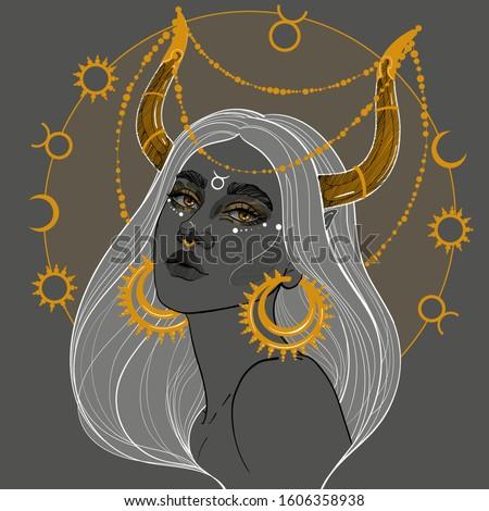 taurus girl with golden horns