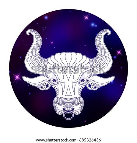 Taurus zodiac sign, horoscope symbol, vector illustration