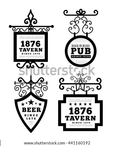 tavern sign  metal frame with...