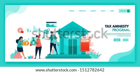Tax amnesty program for reporting asset and tax violation at government tax office. Tax officer advising and calculate taxpayer annual bill, People pay lower taxes. Flat illustration vector design.