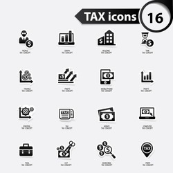 Tax and finance icons,black version,vector