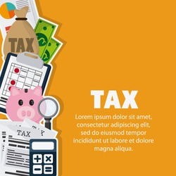 Tax and Financial item concept represented by piggy and documents icon. Colorfull and flat illustration