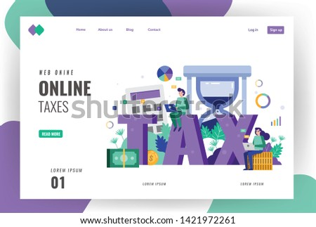 Tax and financial landing page template. Business people searching and calculating taxes bill. vector illustration