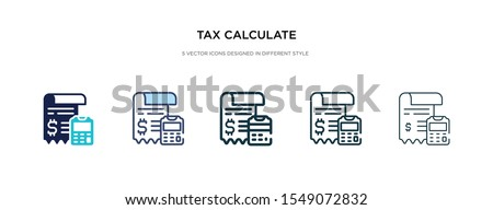 tax calculate icon in different style vector illustration. two colored and black tax calculate vector icons designed in filled, outline, line and stroke style can be used for web, mobile, ui