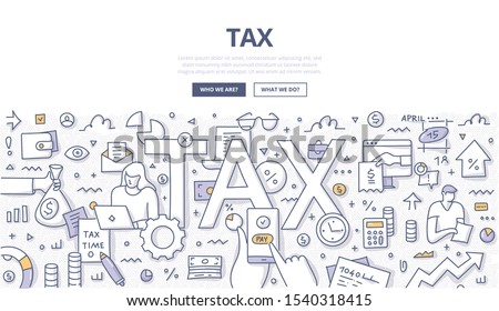 Tax calculation and payment. Tax form filling. Paying tax online. Financial administration and audit concept. Doodle illustration for web banners, hero images, printed materials