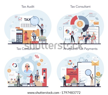 Tax consultant concept set. Idea of accounting and payment. Financial bill. Tax audit, consultation, analysis of tax payments. Flat vector illustration Stock foto ©