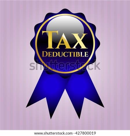Tax Deductible golden emblem or badge