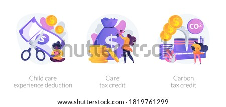 Tax deduction, exemption and credit icons set. Child care experience deduction, care tax credit, carbon tax credit metaphors. Income subsidies. Vector isolated concept metaphor illustrations
