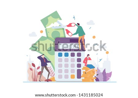 Tax Deduction Vector Illustration Concept Showing Businessman Cutting Tax Using A Scissors, Suitable for landing page, ui, web, app intro card, editorial, flyer, and banner.