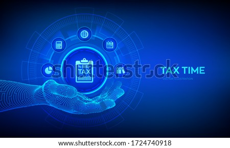Tax icon in robotic hand. Concept tax payment. Data analysis, financial research report and calculation of tax return. Payment of debt. Government, state taxes. Vector illustration.