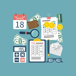 Tax icon. Tax payment government state. Data analysis, paperwork, financial research, report. Calculation of return. Flat design vector. Form. Payment of debt.