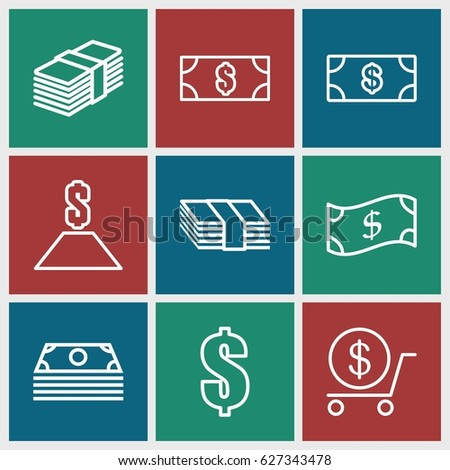 Tax icons set. set of 9 tax outline icons such as Money, dollar, money