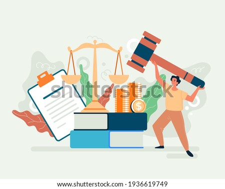 Tax law authority government justice concept. Vector flat cartoon graphic design illusration