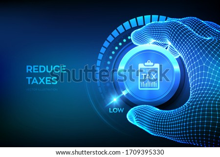 TAX levels knob button. Wireframe hand setting TAX button on lowest position. Reduce taxes concept. Vector illustration. ストックフォト ©