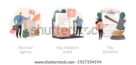 Tax payment abstract concept vector illustration set. Revenue agency, pay a balance owed, pay penalties, credit payment, filing taxes, payroll account, family benefit, GST and HST abstract metaphor.