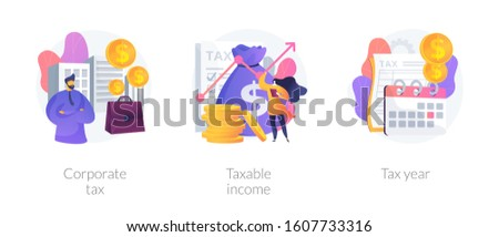 Tax payment flat icons set. Company auditing. Bookkeeping and accounting, finance analytics. Corporate tax, taxable income, tax year metaphors. Vector isolated concept metaphor illustrations