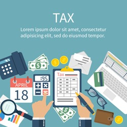 Tax payment. Government, state taxes. Data analysis, paperwork, financial research, report. Businessman calculation tax return. Flat design. Form vector. Payment of debt.