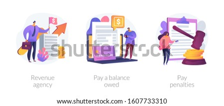 Tax payment stages. Tax office visiting, debt paying, fine and surcharge repayment. Revenue agency, pay a balance owed, pay penalties metaphors. Vector isolated concept metaphor illustrations.