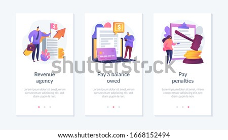 Tax payment stages. Tax office visiting, debt paying, fine and surcharge repayment. Revenue agency, pay a balance owed, pay penalties metaphors. Mobile app UI interface wireframe template.