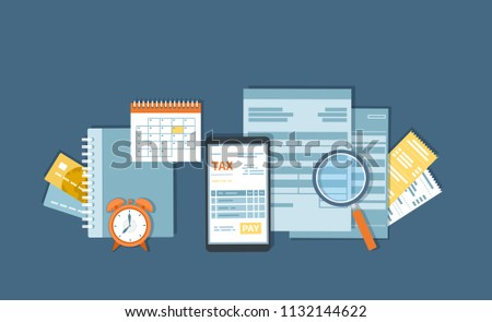 Tax payment via phone. Mobile payment service. Government, State taxes. Tax form, financial calendar, magnifying glass, bills, checks, credit card, invoices, alarm clock. Vector background.