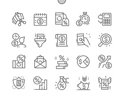 Tax. Regular payment. Checking money. Taxpayer. Banking, management, finance, budget, accounting and economy. Pixel Perfect Vector Thin Line Icons. Simple Minimal Pictogram
