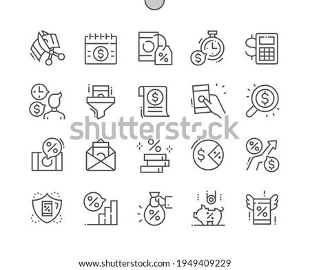 Tax. Regular payment. Checking money. Taxpayer. Banking, management, finance, budget, accounting and economy. Pixel Perfect Vector Thin Line Icons. Simple Minimal Pictogram Stock photo ©