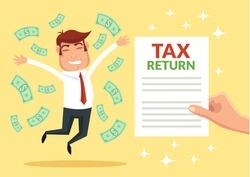 Tax return. Vector flat illustration