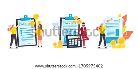 Taxes and fees paying. Financial charge, obligatory payment calculating. Personal income tax, doing your taxes, tax credit metaphors. Vector isolated concept metaphor illustrations. Business finance
