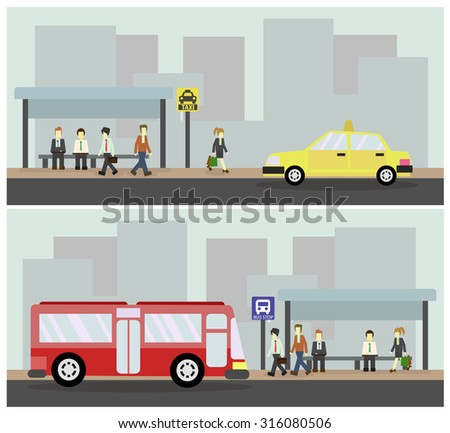 Taxi and Bus station, Public transportation.vector illustration