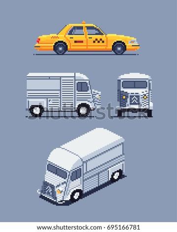 taxi and van, pixel art sprites vector illustrations set Foto stock ©