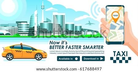 taxi app banner. city skyline...