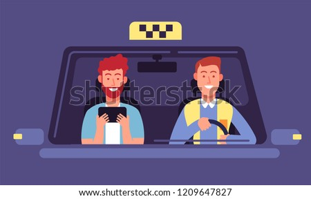 Taxi app. Client and taxi driver inside cab cabin. Taxi booking smartphone application vector background