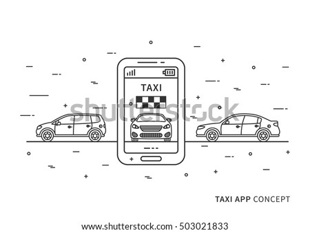 Taxi application on mobile phone vector illustration. Taxi service with mobile phone and cars line art concept. Booking taxi app on smart phone graphic design.