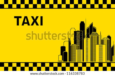 taxi background with city landscape and skyscrapers