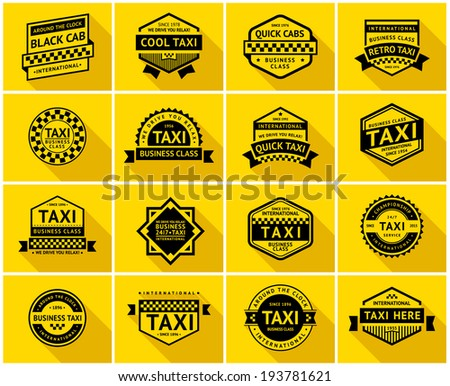 Taxi badge with shadow, vector illustration