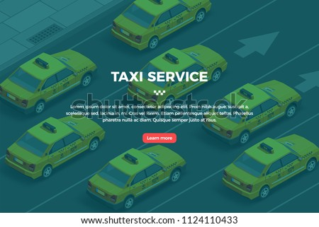 Taxi banner isometric. City yellow taxi service horizontal illustration. Flat 3d vector isometric high quality.