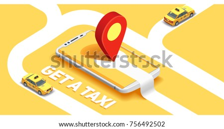 Taxi banner isometric. Online mobile application order taxi service horizontal illustration. Flat 3d vector isometric high quality