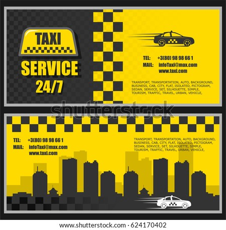 Taxi business card with two sides with an image of a city in the background and a taxi car, a taxi icon.