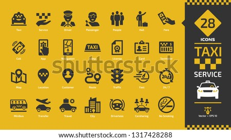 Taxi cab car service glyph icon set on a yellow background with fast motor vehicles, driver, passenger on travel, people and city traffic silhouette sign.