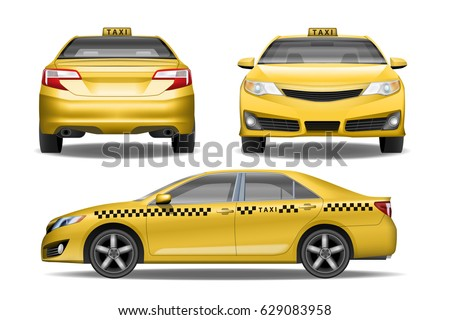 Taxi cab front, back and side view. Yellow Taxi car mock up. Realistic car vector illustration. Passenger Vehicle Mockup for Advertising and Corporate identity.
