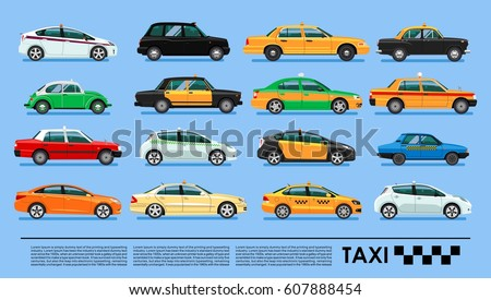 taxi cab icons set poster or